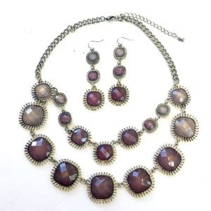 Purple Silver Necklace Earrings SET